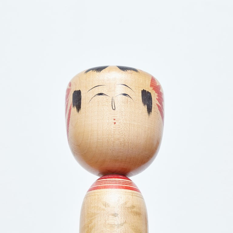 Set of 4 Kokeshi Japanese Wood Hand Painted Doll For Sale 1