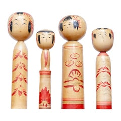 Set of 4 Kokeshi Japanese Wood Hand Painted Doll