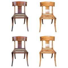 Set of 4 Kreiss Klismos Bleached Wood Dining Chairs