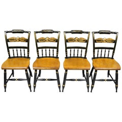 Set of 4 L. Hitchcock Gold Eagle Stencilled Painted Black Maple Dining Chair