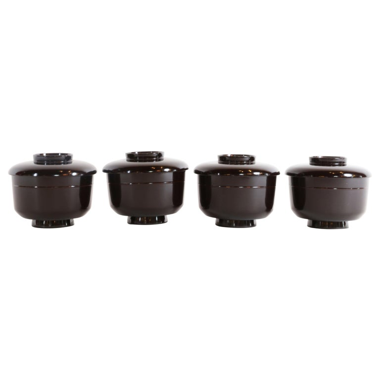 Set of 4 Lacquered Miso Soup Bowls For Sale