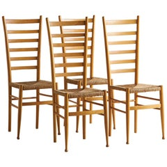 Set of 4 Ladderback and Rush Seat Italian Wooden Dining Chairs