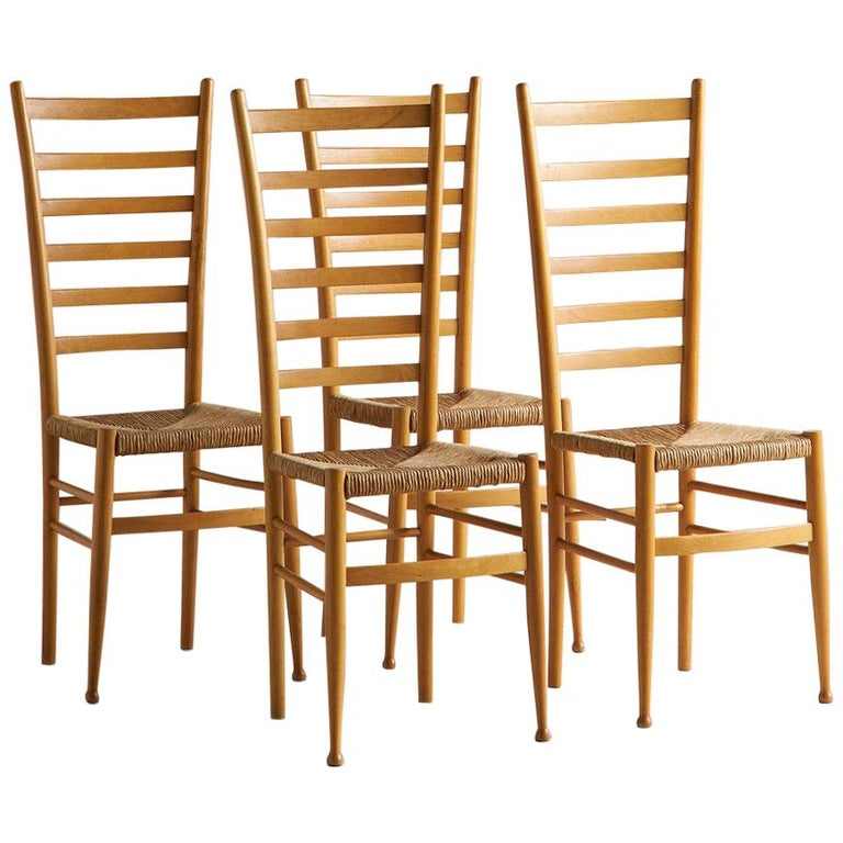 Set of 4 Ladderback and Rush Seat Italian Wooden Dining Chairs For Sale