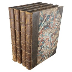 Set of 4 Large Antique Leather and Marbleised Books for Decoration
