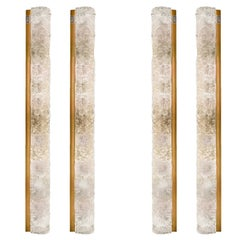 Set of 4 Large Blown Murano Glass and Brass Wall Lights by Hillebrand