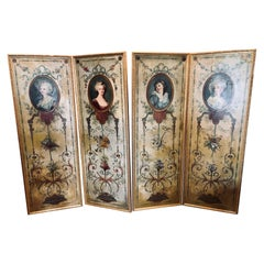 Set of 4 Large French 19th Century Oil on Canvas Wall Panels Trumeau Paintings