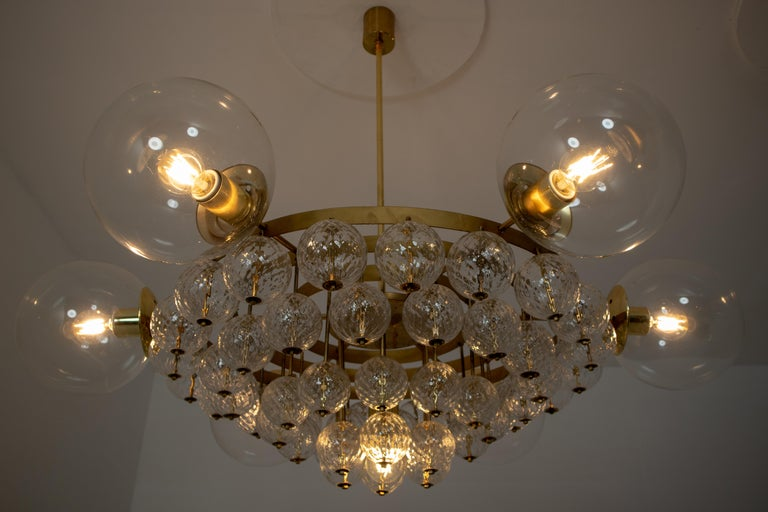 Set of 4 Large Hotel Chandeliers with Brass Fixture and Structured Glass Globes For Sale 4