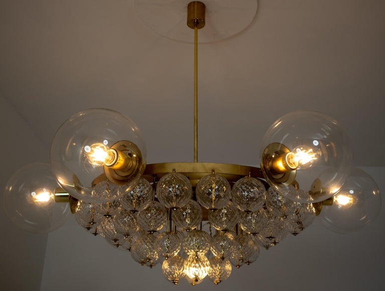 Set of 4 Large Hotel Chandeliers with Brass Fixture and Structured Glass Globes For Sale 3
