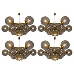Set of 4 Large Hotel Chandeliers with Brass Fixture and Structured Glass Globes
