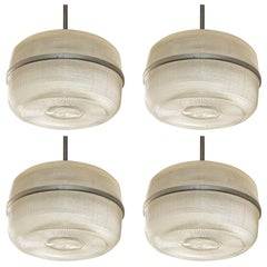 Set of 4 large molded glass industrial hanging lights