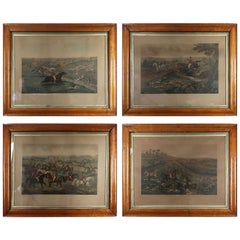 Set of 4 Large Scale Antique Sporting Prints, German, Mid-19th Century