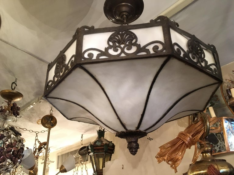 English Set of 4 Leaded Glass Fixtures For Sale
