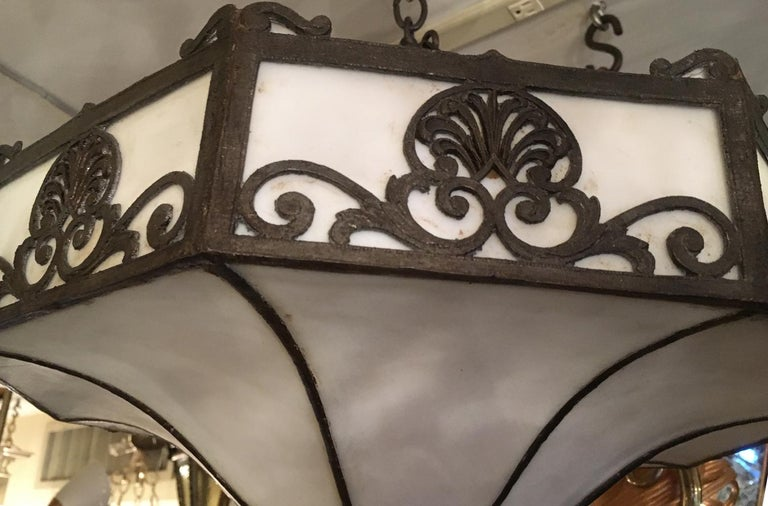 20th Century Set of 4 Leaded Glass Fixtures For Sale