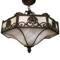 Set of 4 Leaded Glass Fixtures