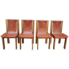 Set of 4 Leather and Ashwood Chairs by Roche Bobois, circa 1980, France