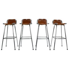 "Set of 4 Leather Barstools Selected by Charlotte Perriand for ""Les Arc"""