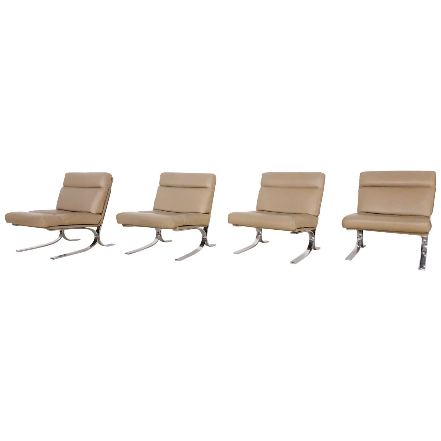 Set of 4 Leather Lounge Chairs Attributed to Paul Tuttle for Strässle, 1970s