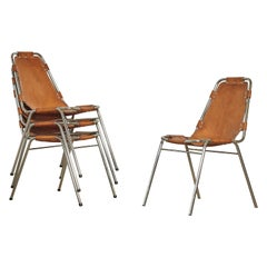 Set of 4 'Les Arcs' Chairs Selected by Charlotte Perriand, 1970s
