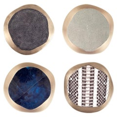 Set of 4 Lily Coasters Inlaid in Black Shagreen and Brass by R&Y Augousti