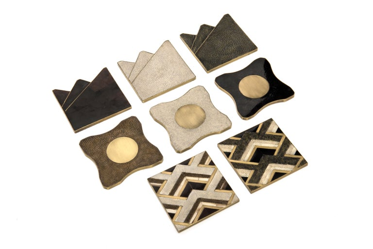 Set of 4 Lily Coasters Inlaid in Cream Shagreen and Brass by R&Y Augousti For Sale 4