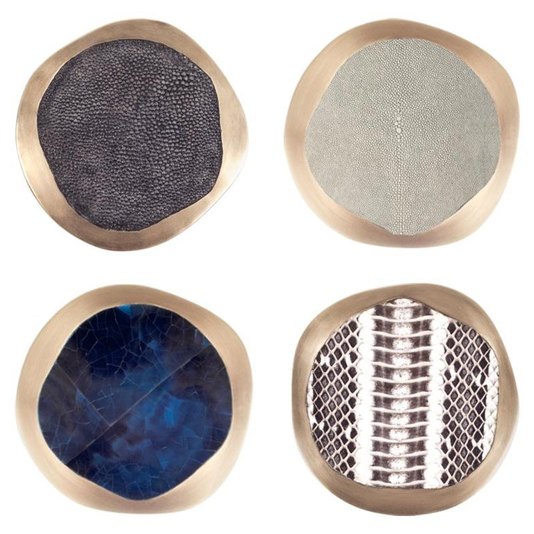 Set of 4 Lily Coasters Inlaid in Cream Shagreen and Brass by R&Y Augousti For Sale