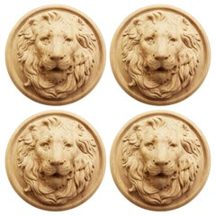 Set of 4 Lion Antique Mask 'Wood Rosette' Hand Carving Craft Wall Art