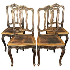 Set of 4 Louis XV Style Pressed Leather and Carved Wood Dining Chairs