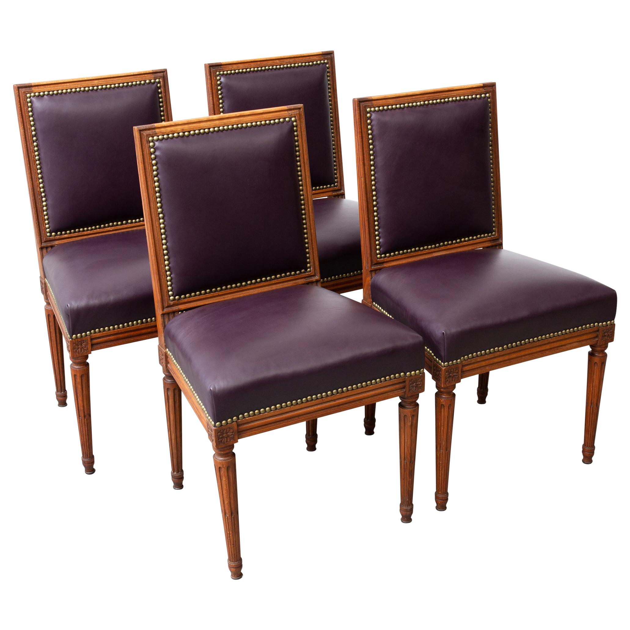 Set of 4 Louis XVI Style Carved Wood Dining Chairs