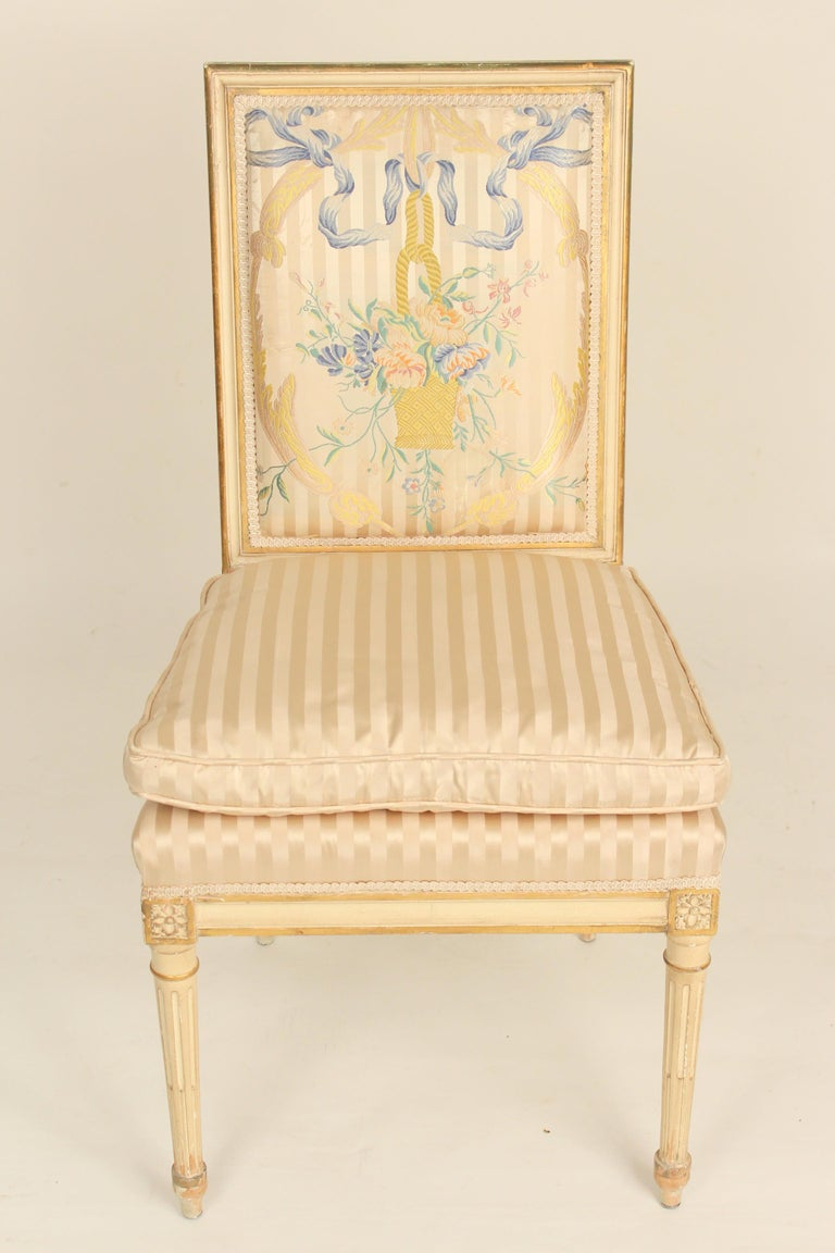 Unknown Set of 4 Louis XVI Style Painted and Partial Gilt Side Chairs For Sale