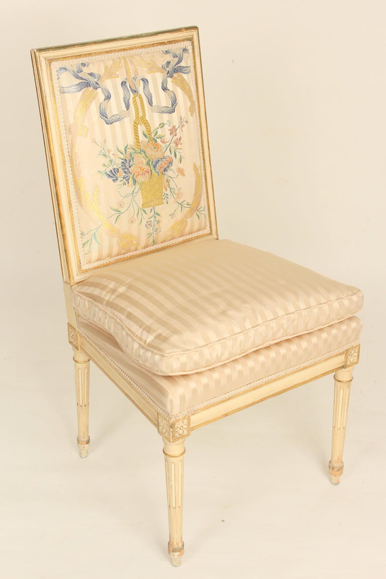 Set of 4 Louis XVI Style Painted and Partial Gilt Side Chairs In Fair Condition For Sale In Laguna Beach, CA