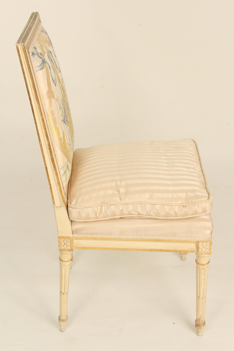 Mid-20th Century Set of 4 Louis XVI Style Painted and Partial Gilt Side Chairs For Sale