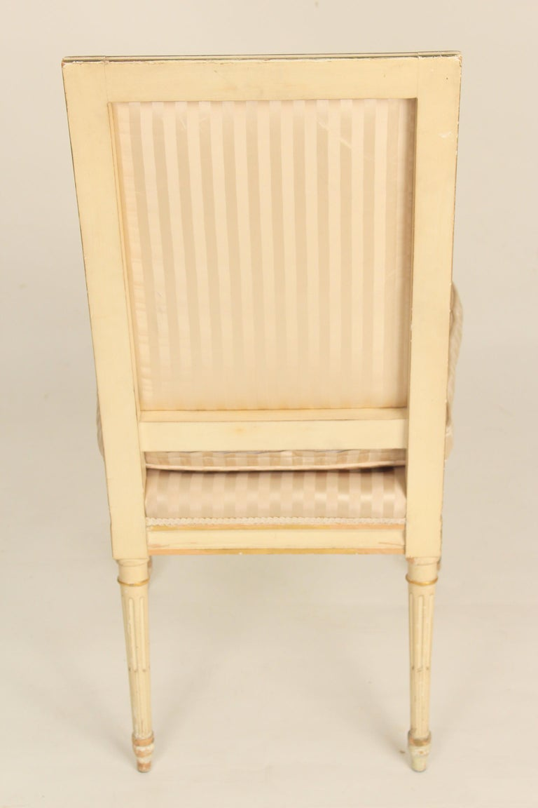 Upholstery Set of 4 Louis XVI Style Painted and Partial Gilt Side Chairs For Sale