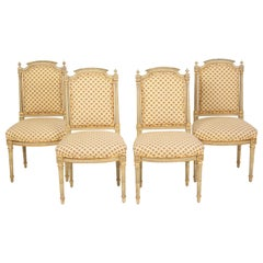Set of 4 Louis XVI Style Painted and Partial Gilt Side Chairs