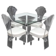 Set of 4 Lucite Dining Chairs Square Dining Table on Single Pedestal Base