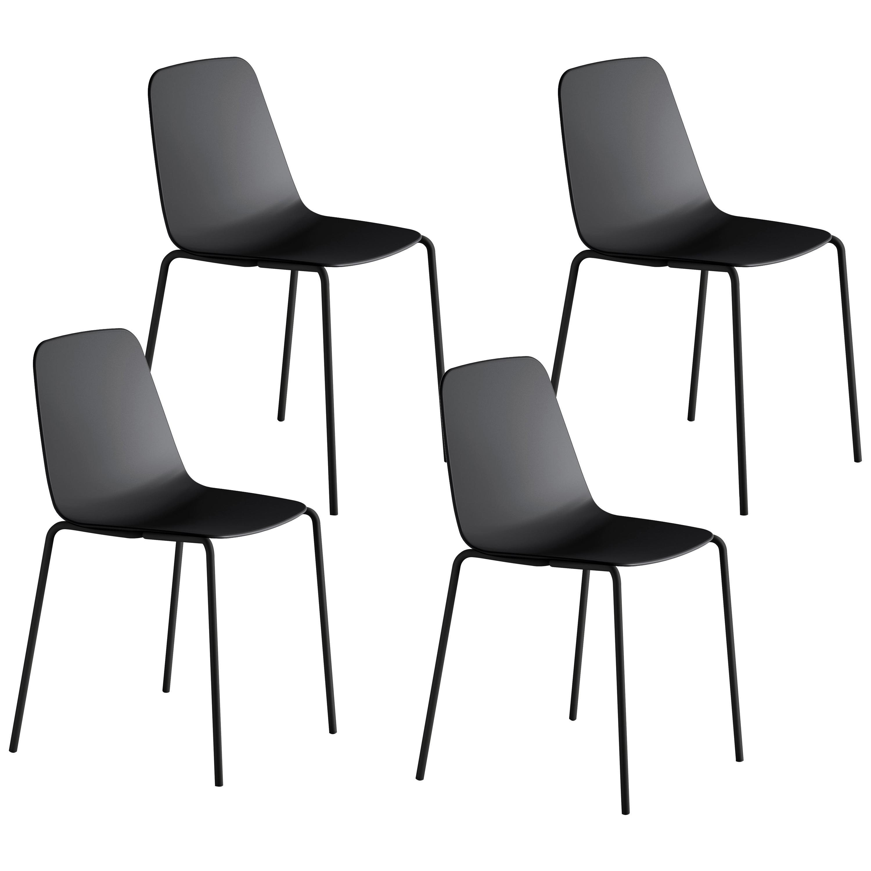 Viccarbe Set 4 Maarten Plastic Chair, Metal Legs, Black  by Víctor Carrasco