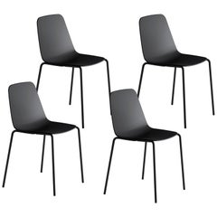 Viccarbe Set 4 Maarten Plastic Chair, Metal Legs, Black  by Víctor Carrasco