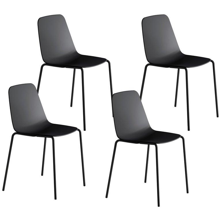 Viccarbe Set 4 Maarten Plastic Chair, Metal Legs, Black  by Víctor Carrasco For Sale