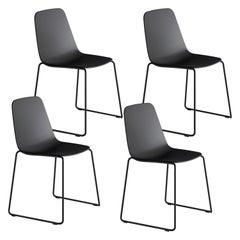 Viccarbe Set 4 Maarten Plastic Chair, Sled Base, Black  Víctor Carrasco