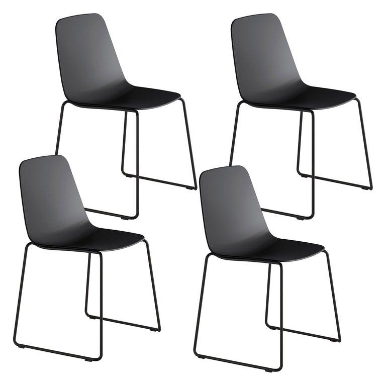 Viccarbe Set 4 Maarten Plastic Chair, Sled Base, Black  Víctor Carrasco For Sale