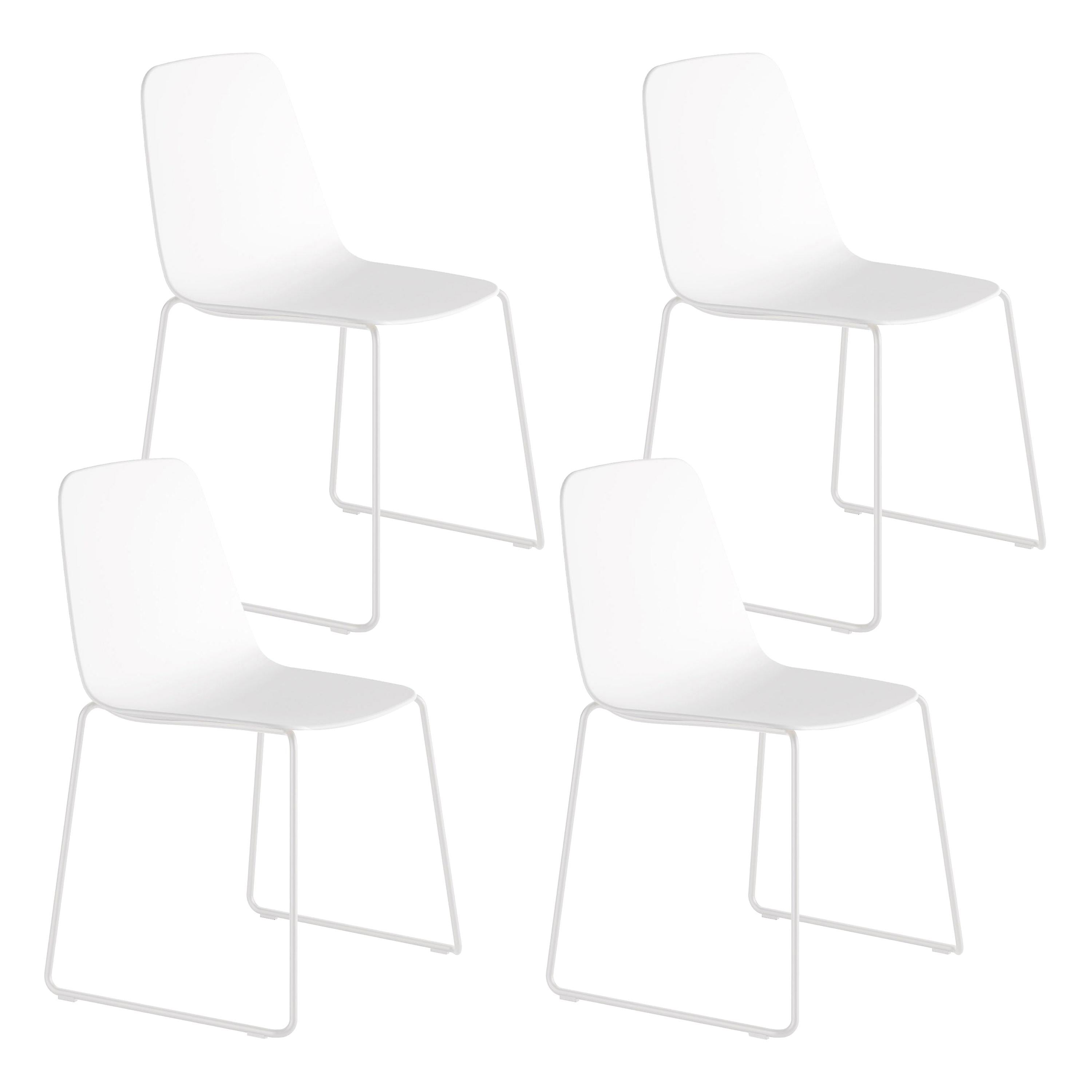 Viccarbe Set 4 Maarten Plastic Chair, Sled Base, White  , by Víctor Carrasco
