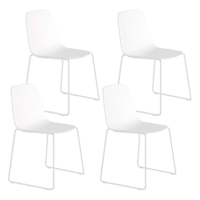 Viccarbe Set 4 Maarten Plastic Chair, Sled Base, White  , by Víctor Carrasco For Sale