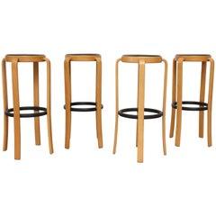 Set of 4 Magnus Olesen Danish Birch Bar Stools