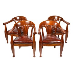 Set of 4 Mahogany Armchairs, the Design Attributed to Johan Rohde, circa 1900