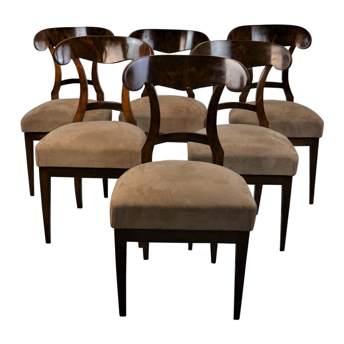 Set of 6 Mahogany Biedermeier Chairs, 19th Century