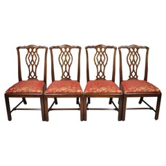 Set of 4 Mahogany Chippendale Style Dining Side Chairs Attributed to Bernhardt