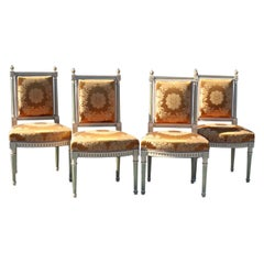 Set of 4 Maison Jansen Louis XVI Style Paint Decorated Silk Side Dining Chairs