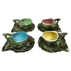 Set of 4 Majolica Shells Cups & Saucers Circa 1950