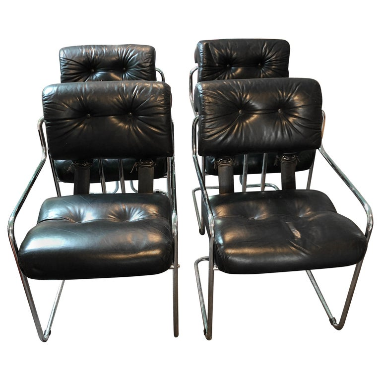 Mid Century Modern Armchairs: Set Of 4 Mariani Black Leather And Chrome Mid-Century