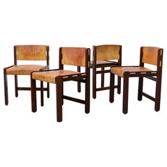 Set of  4 Martin Visser Leather and Wenge Dining Chairs