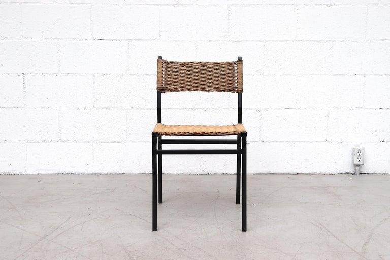 Mid-Century Modern Set of 4 Martin Visser Rattan Dining Chairs For Sale